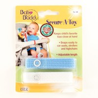 Baby Buddy Secure-A-Toy 2ct Toy Straps Blue/White [Baby Product]