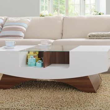 Vian Modern Coffee Table in White and Light Walnut