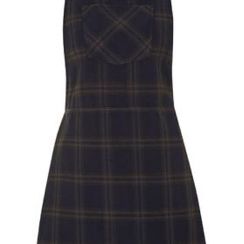 PETITE Checked Pinafore Dress - Navy Blue