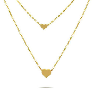 Double Gold Hearts Necklace 14K Gold Plated Tiny Hearts Necklace, Modern Minimal Layered Necklace Dainty Jewelry Necklace 15inch + 2 Extension w Lobster Clasp