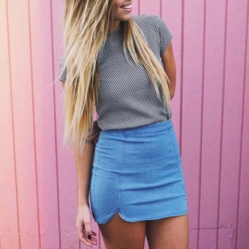 Stylish Denim Plaid Skirt [9017517764]