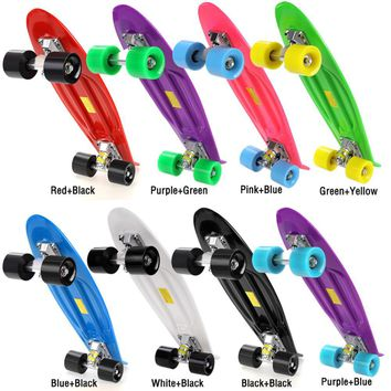 New Skateboard 22 inch Retro Classic Cruiser Style Skateboard Complete Deck Plastic Mini Skate Board 8 Colors