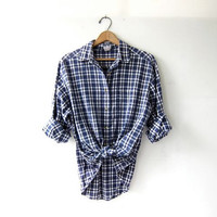 20% OFF SALE Vintage Plaid Shirt / Grunge Denim Shirt / Boyfriend Shirt / Tomboy Shirt / Coed Shirt
