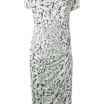 Helmut Lang gathered printed dress