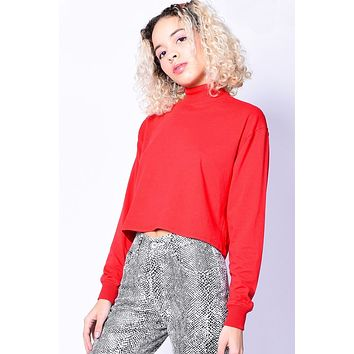 After Dark Mock Neck Top - Red