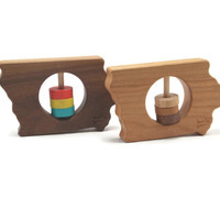 State of Iowa Wooden Organic Rattle Toy