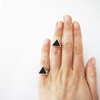 Knuckle black triangle ring . Geo ring. Listing for 1  one ring Black polymer clay ring.