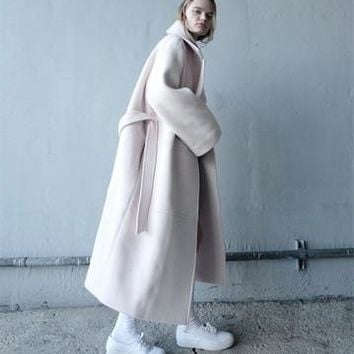 UK Runway designer 2017 Winter Women Simple Wool Maxi Oversized Long Coat Quilted Female Outerwear manteau femme abrigos mujer
