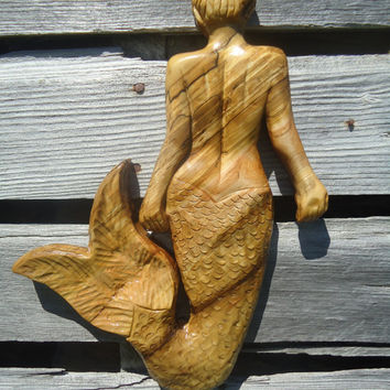 Wood Mermaid sculpture - Ocean decor - Wall artwork - Hanging sculpture - Art - Wood sculpture - Wood Mermaid - Beach decor - Mermaid art