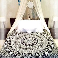 Elephant Mandala Hippie Tapestry Wall Hanging Queen Bedspread Bohemian Decor Art