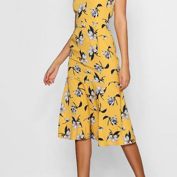 Tall Floral One Shoulder Ruffle Midi Dress | Boohoo