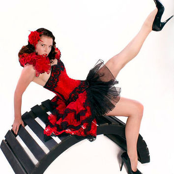 Red Enchantment Burlesque Bustle Skirt and by GothicBurlesque