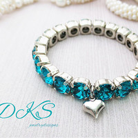 Little Girls 8mm Swarovski Stretch Bracelet, Blue Zircon, Heart Charm, Silver, Child Jewelry,DKSJewelrydesigns, FREE SHIPPING