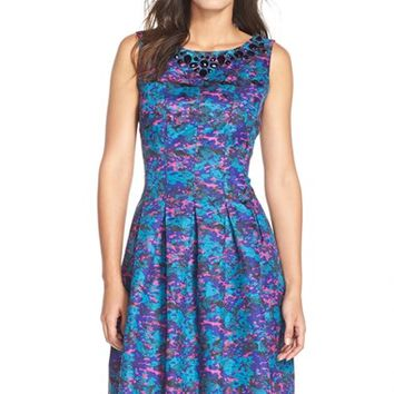 Women's Chetta B Embellished Jacquard Fit & Flare Dress,