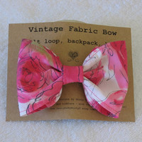 Retro Hot Pink Fabric Hair Bow