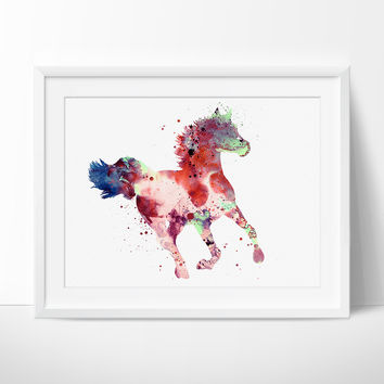 Colorful Horse Watercolor Painting, Horse Decor Watercolor, Horse painting Wall Art Print, Horse Print, Watercolour Horse Art PRINT (100)