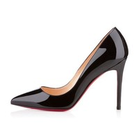 DCCK2 christian louboutin cl pigalle black patent leather 100mm stiletto heel classic