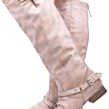BEIGE FAUX LEATHER BUCKLE RUCHED KNEE HIGH RIDER BOOTS