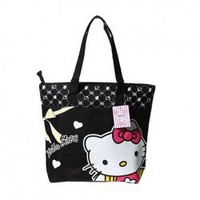 518 Cute Kitty Decorated Waterproof Shopping Bag with Dual Compartment and Zipper Closure-Black Hot Sale At Wholesale Price - Gadgetsdealer.com