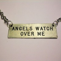 Angels watch over me engraved necklace by CorsoStudio on Etsy