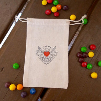 Sweetheart Heart with Wings Tattoo Style  Hand Stamped Cotton Muslin 4x6 Favor Bag - Great for Weddings, Valentines or Birthday Parties