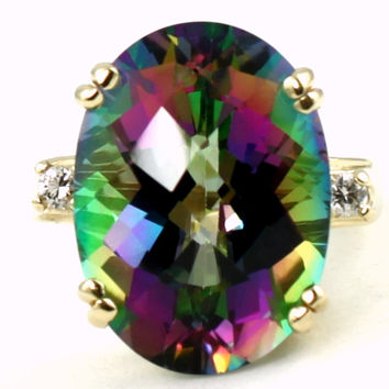 R269, 15ct Mystic Fire Topaz set in a Gold Ring w/two CZ accents
