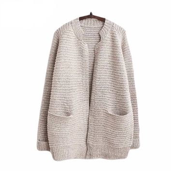 Women Knitted Cardigan Sweater Casual Loose Pockets Cashmere