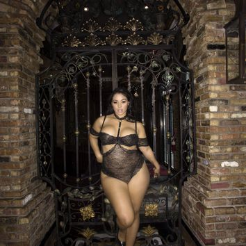 Plus Size Lace Teddy with Choker