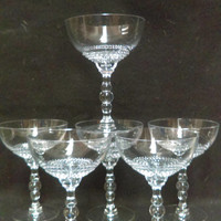 Duncan & Miller Crystal  Teardrop Champagne Coups, Tall Sherbets, Stacked Ball Stem , Set of 6  (1333)