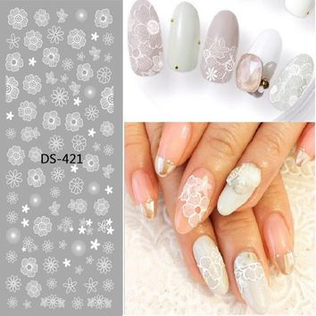 1 Pc Colorful Flower Starfish Lavender Cute Animal Watermark Large Sheet Decal Sticker DS-421-429 Japan Manicure Nail Sticker