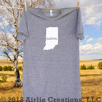 Indiana Home State NATIVE T shirt -more shirt and logo colors available