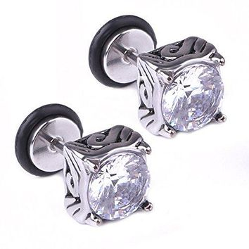 BodyJ4You Earring Stud Tribal Prong CZ Crystal Clear Stainless Steel 18G Screw Back Ear Piercing Fake Plugs