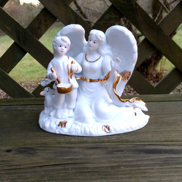 Angel Figurine Angel statue Ceramic figure Gold tone white and gold religious gift angel gift drummer boy angel wings heavenly statuette