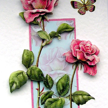 "Hand Crafted 3D Decoupage Card, Blank for any Occasion (1822) ""Pink Roses"""