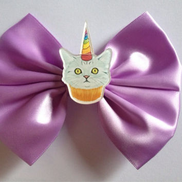 Cute Pastel Purple Hairbow Hair Bow Cat Cupcake Unicorn Horn Fairy Kei Sweet Lolita Goth Decora Scene Kitty Kitten Satin Rainbow Cup Cake