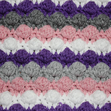 Handmade Multicolored Striped Crochet Bobble Blanket, Newborn Baby Blanket, Photography Props Blanket, Car seat tent canopy