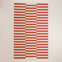 Cranberry Red and White Stripe Cotton Dhurrie Area Rug - World Market