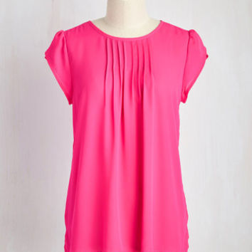 Charmer in Charge Top in Hot Pink | Mod Retro Vintage Short Sleeve Shirts | ModCloth.com