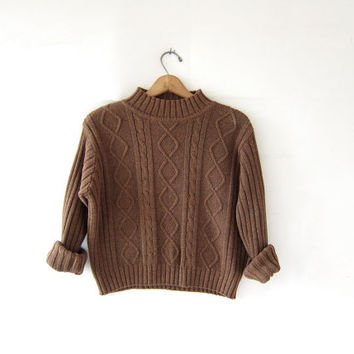 vintage 90s cropped sweater. textured cotton knit pullover. boxy sweater. brown cable knit sweater.