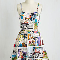 Mid-length Spaghetti Straps Fit & Flare So Jelly Dress in Comics by ModCloth