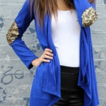 Stand Collar Sequined Elbow Long Sleeve Cardigan