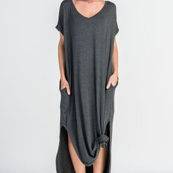 The Abigail Charcoal Pocket Tee Maxi Dress