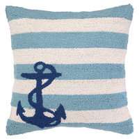 Anchor Stripes 18x18 Wool Pillow, Blue, Decorative Pillows