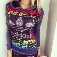 """Adidas"" Villus Fashion Hot Drilling Color Sweater"