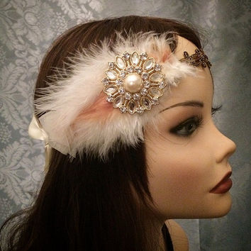 20s Gold Brown Peach White Crystal Rhinestone Deco Gatsby Feather flapper  Headband Wrap Head Piece 1920s 7b25f18c11f