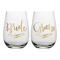 """SLANT COLLECTIONS """"BRIDE, GROOM"""" STEMLESS WINE GLASS SET OF 2"""