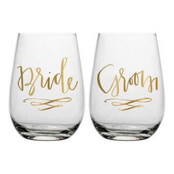 "SLANT COLLECTIONS ""BRIDE, GROOM"" STEMLESS WINE GLASS SET OF 2"