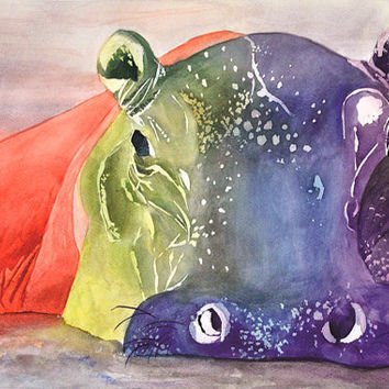 PRINT of Original Hippo Watercolor - 8x12