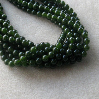 Dark Green Jade Beads, Gemstone Beads, Jewelry Making Beads, Beads for Designing, Round Beads, Jade Beads, Craft Supplies, Christmas Beads