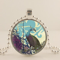 "Blue and purple Peacock bird, 1"" glass and metal Pendant necklace Jewelry."